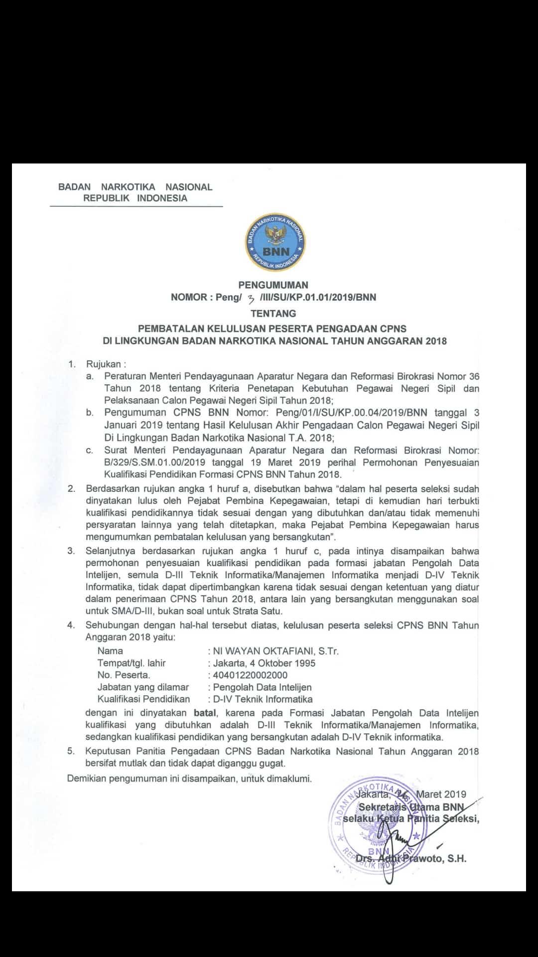 pengumuman pembatalan kelulusan peserta pengadaan CPNS di lingkungan BNN TA 2018.