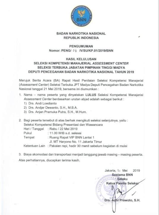 Pengumuman Hasil Kelulusan seleksi Kompetensi Manajerial Assesment Center Seleksi terbuka Jabatan Pimpinan Tinggi Madya Deputi Pencegahan BNN Tahun 2019