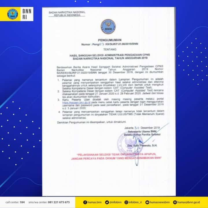 Pengumuman Hasil Sanggah Seleksi Administrasi Pengadaan CPNS BNN T.A. 2019