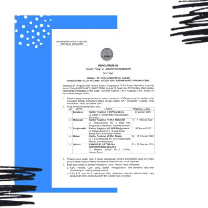 Pengumuman Jadwal Seleksi Kompetensi Dasar Pengadaan Calon Pegawai Negeri Sipil BNN T.A. 2019