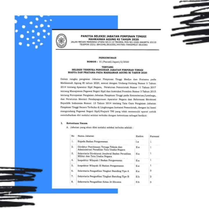 Seleksi Terbuka Pengisian Jabatan Pimpinan Tinggi Madya dan Pratama Pada Mahkamah RI