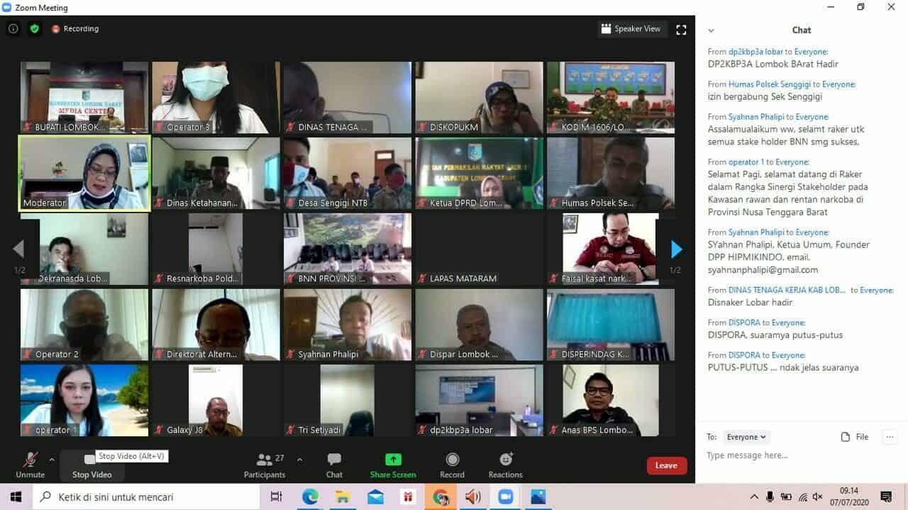 Kegiatan Virtual Rapat Kerja dalam rangka Sinergi Stakeholder pada Kawasan rawan dan rentan Narkoba di Provinsi NTB