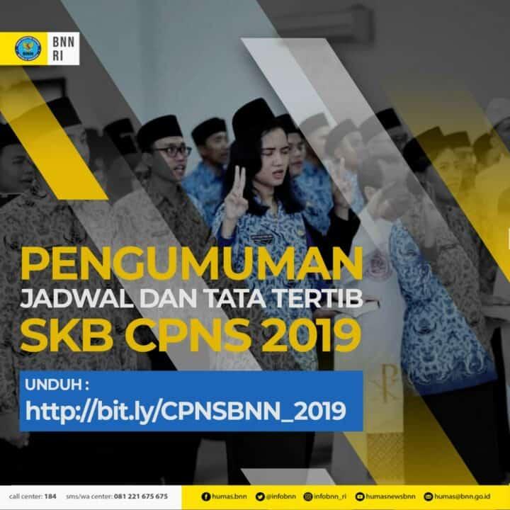 Pengumuman Jadwal Pelaksanaan Ujian CAT SKB CPNS BNN RI Tahun 2019