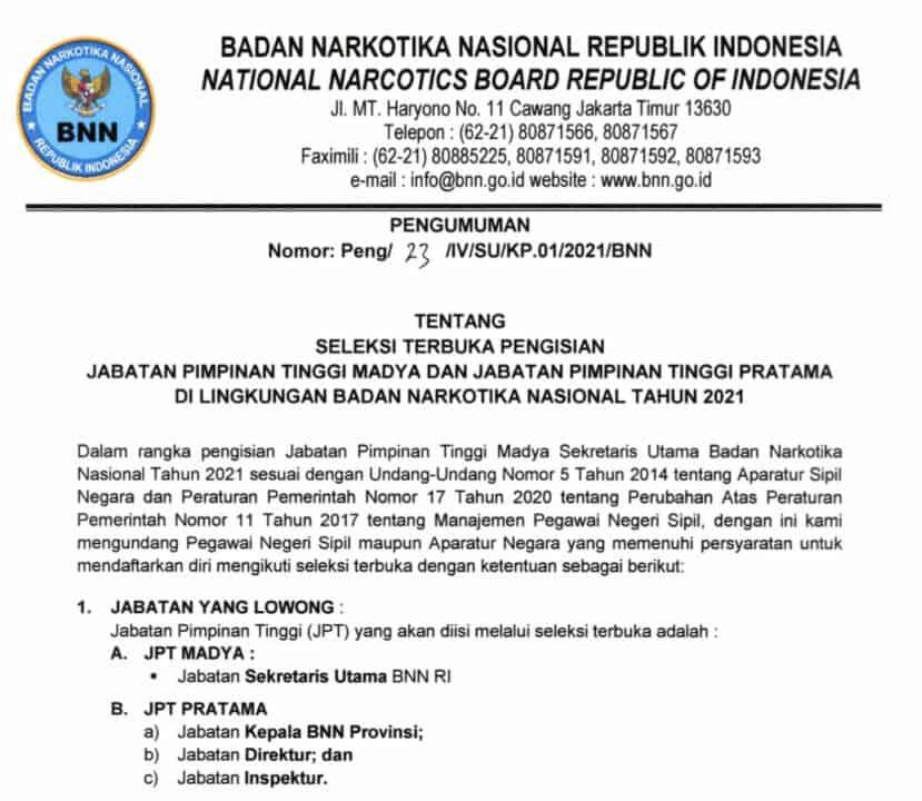 Seleksi Terbuka Pengisian Jabatan Pimpinan Tinggi Madya dan Jabatan Pimpinan Tinggi Pratama Di Lingkungan BNN Tahun 2021
