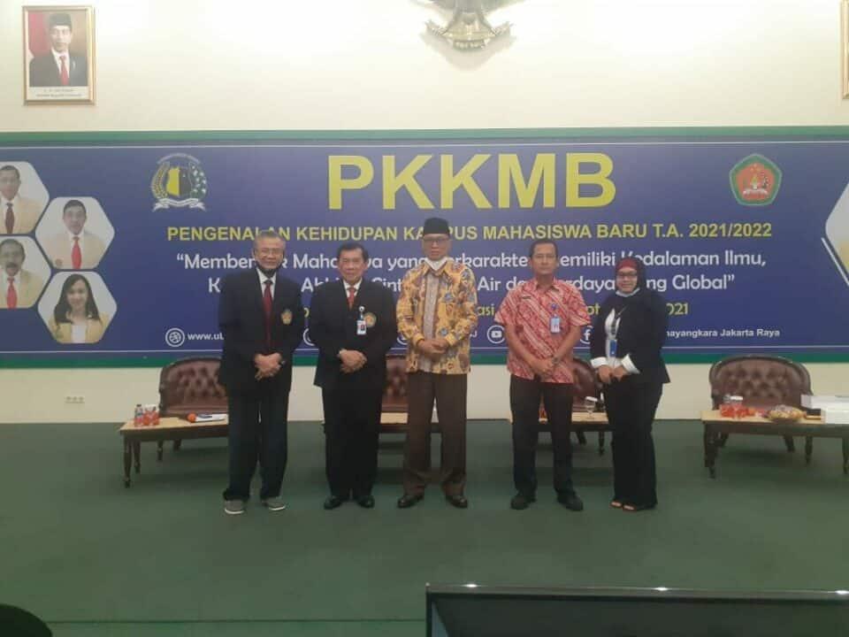 Narasumber pada Kegiatan Pelaksanaan Pengenalan Kehidupan Kampus Mahasiswa Baru (PKKMB) Tahun 2021 secara offline to online, yang dilaksanakan Universitas Bhayangkara, Jakarta Raya.